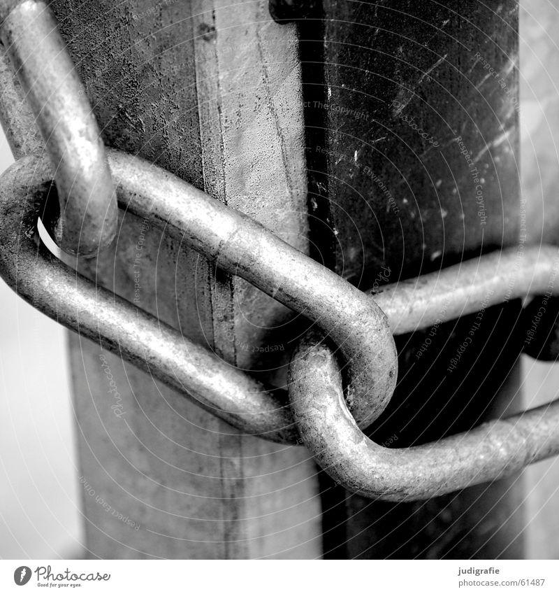 Verschlossen Kettenglied geschlossen schwarz weiß Zusammensein Halt Verbote gesperrt Barriere gefangen Metall Tor Tür Feste & Feiern aussperren