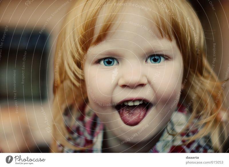 Kind schön Mädchen Freude Leben lustig lachen natürlich Gesundheit hell Stimmung glänzend authentisch verrückt Lächeln Fröhlichkeit