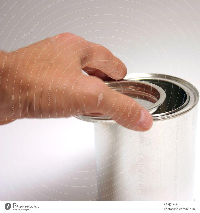 Dose die II Hand Farbe Metall Finger offen Daumen Gully schließen Blech aufmachen Behälter u. Gefäße
