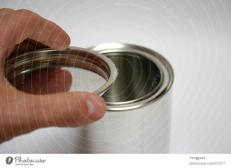 Dose die III Hand Farbe Metall Finger offen Daumen Gully schließen Blech aufmachen Behälter u. Gefäße