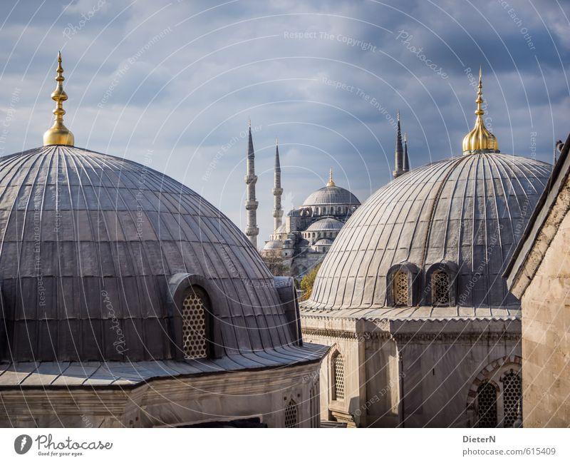 Kuppeln Stadt Hauptstadt Stadtzentrum Menschenleer Haus Kirche Turm Bauwerk Gebäude Architektur Fassade Sehenswürdigkeit Wahrzeichen blau gold schwarz Istanbul