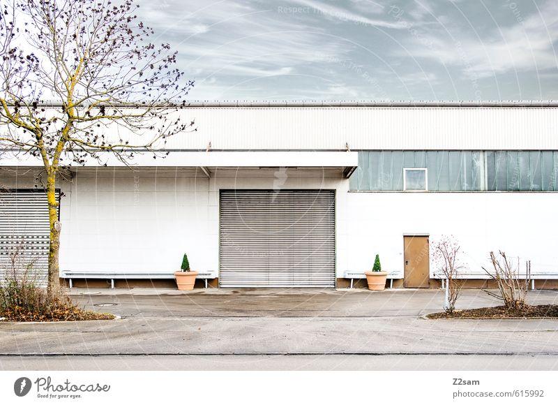 Ordnung ist das ...... Herbst Schönes Wetter Baum Sträucher Industrieanlage Fabrik Platz Tor Gebäude Architektur Mauer Wand eckig einfach kalt modern Sauberkeit
