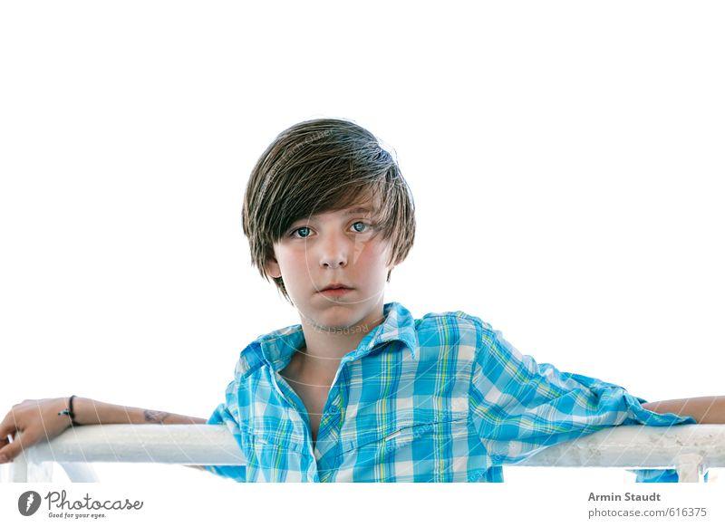 Porträt an der Reeling Mensch Kind Jugendliche Ferien & Urlaub & Reisen blau weiß Erholung ruhig natürlich maskulin Zufriedenheit 13-18 Jahre stehen Tourismus