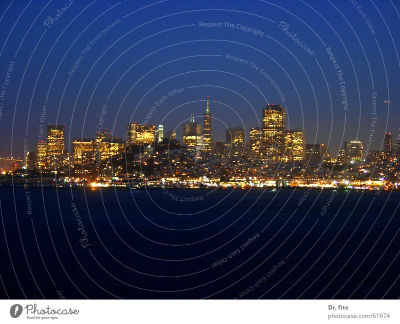 If you're going to San Francisco.. Wasser Himmel Meer blau dunkel Hochhaus USA Skyline Kalifornien Alcatraz