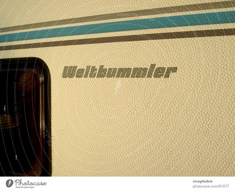 Weltbummler Ferien & Urlaub & Reisen gelb Fenster braun Streifen Camping Wohnmobil Wohnwagen