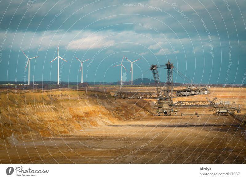 Braunkohle vs Windkraft Himmel blau gelb Umwelt Horizont Arbeit & Erwerbstätigkeit Energiewirtschaft authentisch Perspektive bedrohlich Wandel & Veränderung