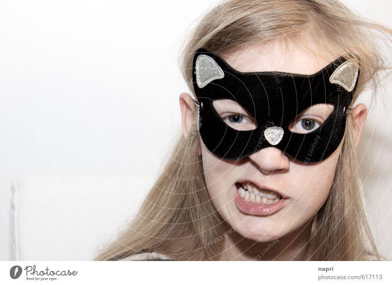 Vorsicht: Kitten! Mädchen Kindheit Jugendliche Kopf 1 Mensch 8-13 Jahre Maske blond langhaarig Spielen frech schön lustig niedlich wild selbstbewußt einzigartig