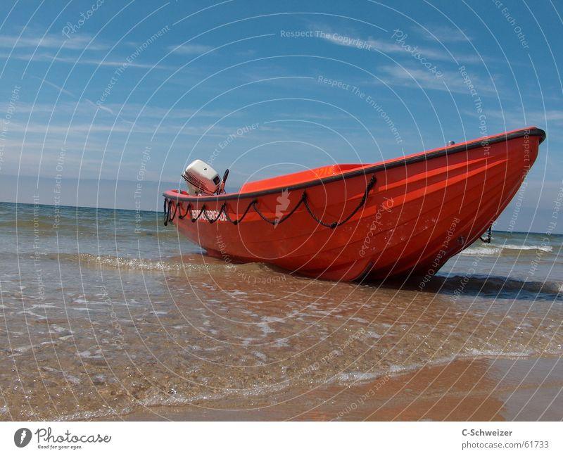 Gestrandet Wasser Meer rot Strand Wasserfahrzeug gestrandet