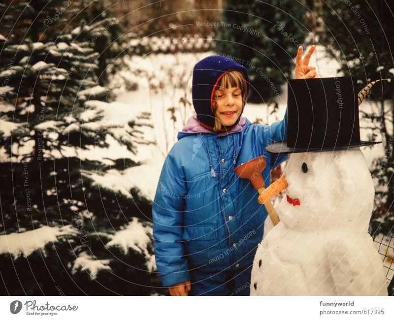 Hasnohrn! Mädchen Kindheit 8-13 Jahre Lächeln Spielen retro Erfolg Freizeit & Hobby Freude Freundschaft Lebensfreude Nostalgie Vergangenheit Schneemann