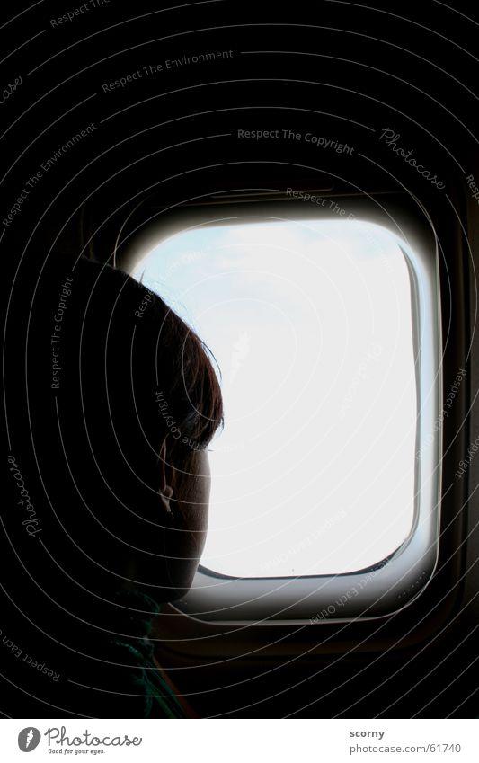 Fernweh... Ferien & Urlaub & Reisen dunkel Fenster Kopf Flugzeug Luftverkehr Aussicht Ohr wiederkommen