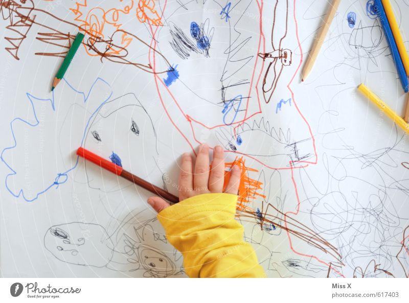 Pteranodon Mensch Kind Hand Gefühle Spielen Kunst Stimmung Freizeit & Hobby Kindheit lernen Kreativität Papier malen Gemälde Kleinkind zeichnen