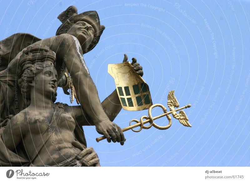 mannem - weest wiesch menn? Himmel alt blau gelb kalt grau hell gold Zukunft Denkmal Quadrat Aussicht Statue Marktplatz Sandstein Mannheim