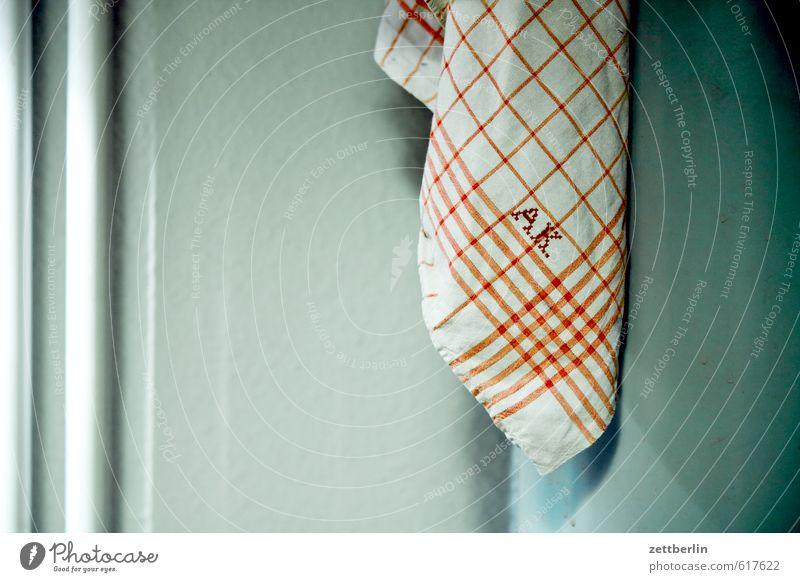 A.K. Ernährung Gesunde Ernährung Essen Handtuch initiale kariert Küche Serviette Tuch Textilien Linie Muster Design historisch Großmutter Stoff Falte Buchstaben