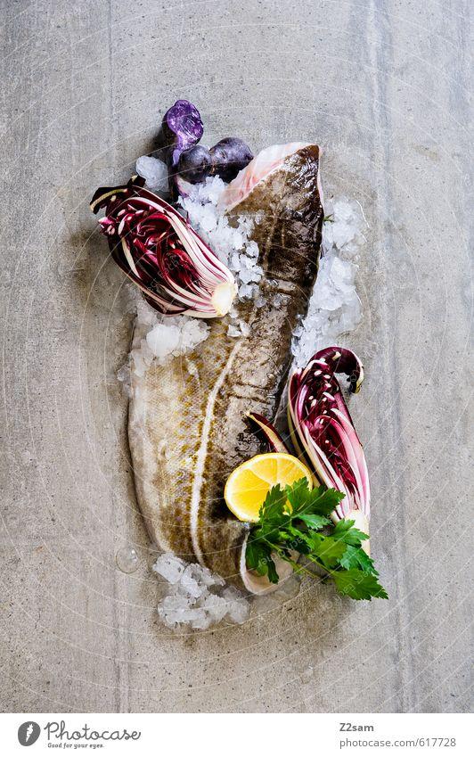 kabeljau grün kalt Gesundheit natürlich Lebensmittel Eis elegant Design modern ästhetisch Sauberkeit Fisch violett Gemüse Kräuter & Gewürze lecker