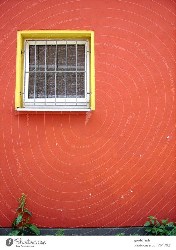 rote hauswand Wand Fenster Mauer gelb Einblick Aussicht Gras grün Hintergrundbild mehrfarbig Gitter geschlossen Stein streichen Farbe