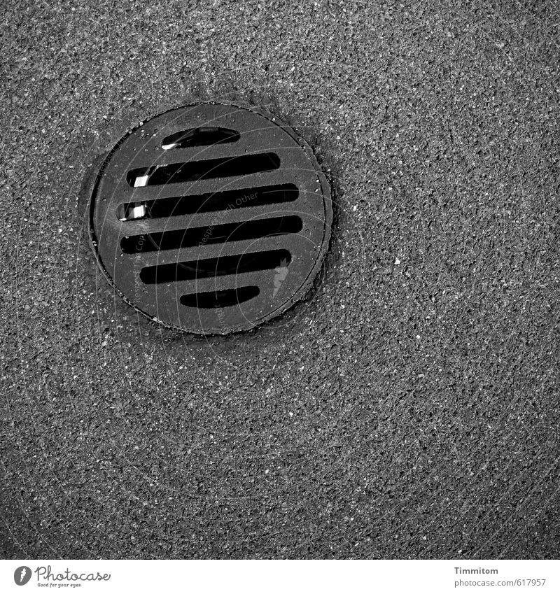geheimnisvoll | Das schwarze Loch. Röhren Öffnung Gitter Metall warten ästhetisch dunkel silber Präzision fest Stabilität Asphalt Schwarzes Loch Schwarzweißfoto