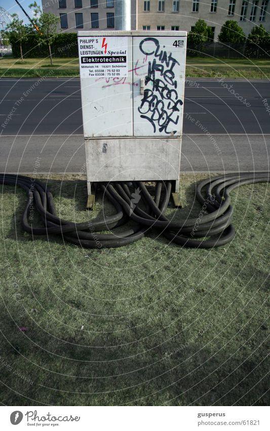 Kabelbusen Elektrizität Halfpipe kabelhaus Verbindung Energiewirtschaft take weiterleitung energierhalungsatz alles was irgendwie nützt Zusteller Rasen cable