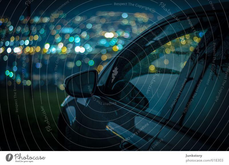 Big City Lights blau Stadt grün Einsamkeit Erholung schwarz gelb Horizont Stimmung Metall träumen PKW leuchten Glas stehen Ausflug