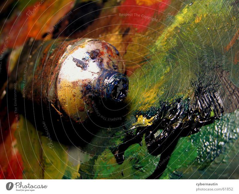 Farbexplosion ... grün blau rot gelb Farbe orange Kunst streichen London Underground Atelier Paletten Ölfarbe