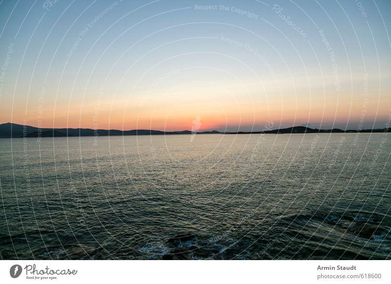 Sonnenuntergang über dem Meer Himmel Natur Ferien & Urlaub & Reisen blau Wasser Sommer Landschaft Strand Ferne natürlich Stimmung orange Schönes Wetter Insel