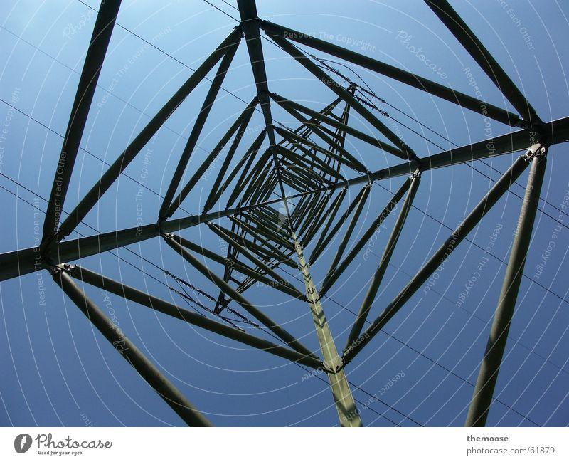 stromLinien Strommast Elektrizität Eisen Himmel blau Kabel electricity