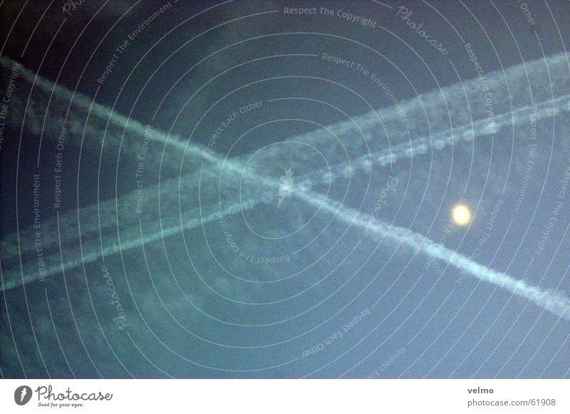 a-cross the sky Dämmerung Kondensstreifen Flugzeug Himmel Abend Mond Rücken blau