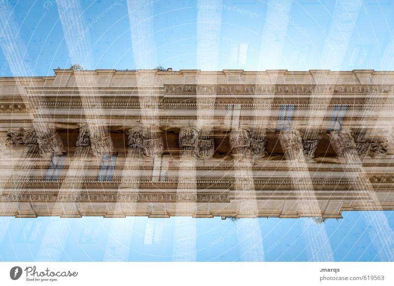 Antiquität elegant Stil Design Wolkenloser Himmel Bauwerk Architektur Säule Säulenkapitell alt außergewöhnlich Ordnung Perspektive planen Symmetrie