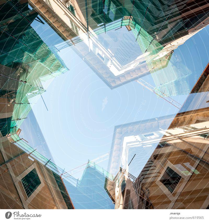 Innenstadt Lifestyle Stil Design Häusliches Leben Haus Wolkenloser Himmel Sonnenlicht Sommer Schönes Wetter Gebäude Architektur Fassade Fenster bauen
