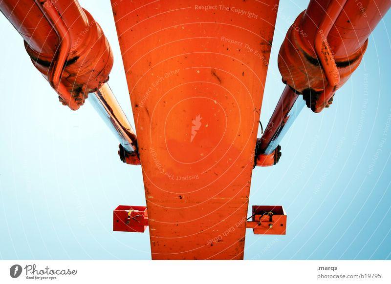 Hydraulik Arbeit & Erwerbstätigkeit Baustelle Industrie Technik & Technologie Wolkenloser Himmel Bagger Metall bauen gigantisch groß blau orange Beginn Farbe