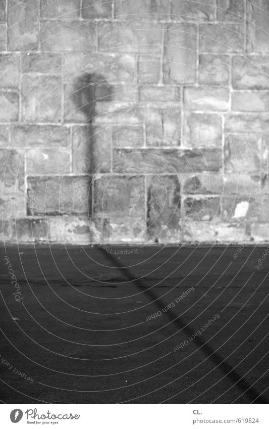 mauer Menschenleer Architektur Mauer Wand Fassade Verkehr Verkehrswege Straße Wege & Pfade Stein Beton trist Traurigkeit Einsamkeit stagnierend Verkehrsschild
