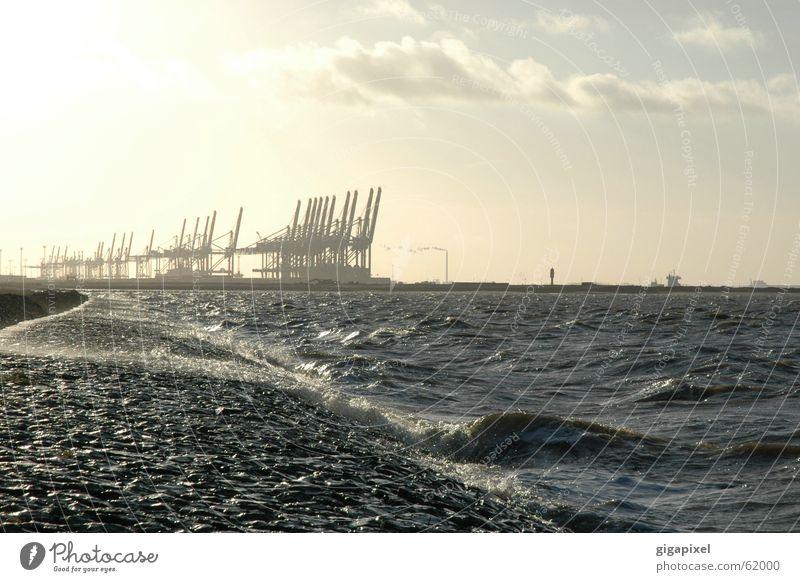 Roboter-Angeln? Kran Weser Bremerhaven Container Wasser küste norddeutschland
