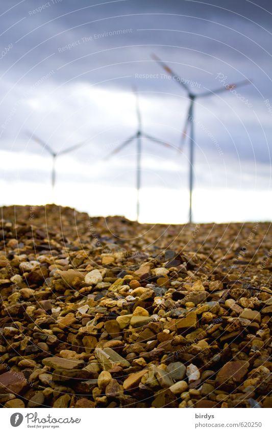 Gehts denn immer nur um Kies ? Energiewirtschaft Erneuerbare Energie Windkraftanlage Himmel Wolken drehen ästhetisch hoch positiv Bewegung nachhaltig