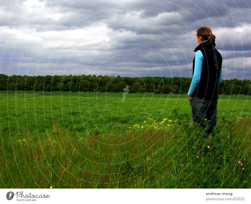 Watching the world Himmel Wolken Unwetter grau schlechtes Wetter Wald Gras Feld Frau stehen trüb Trauer Horizont sky clouds cloudy grey forest field Ferne
