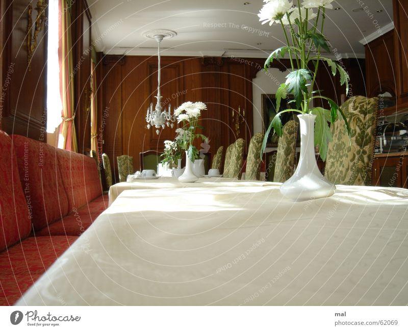 restaurant grün weiß rot Sonne Blume ruhig Erholung Holz hell Schilder & Markierungen liegen frisch Tisch leer Pause Gastronomie