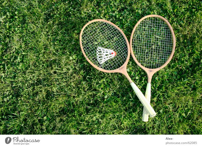 Gegenschlag der DDR Holz Badminton Gras Gitter Qualität Sport Rasen Ball liegen alt Textfreiraum links Objektfotografie 2 paarweise Spielen Federball