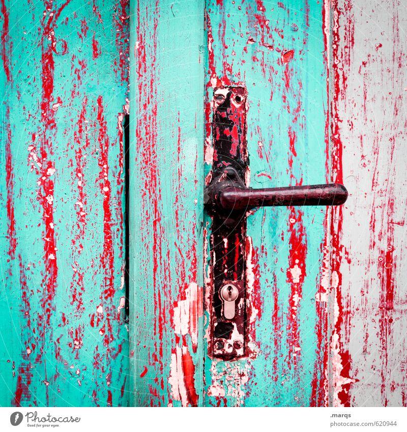 Einlass Stil Design Tür Griff Holz Metall alt außergewöhnlich kaputt verrückt rot schwarz türkis Farbe Verfall Wandel & Veränderung Ziel Erwartung Eingang