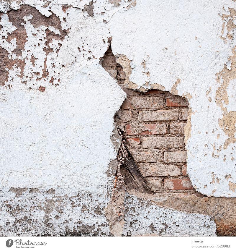 Gerissen Mauer Wand Backstein Backsteinwand alt einfach hell kaputt Verfall Vergänglichkeit Hintergrundbild Riss Farbfoto Außenaufnahme Nahaufnahme abstrakt