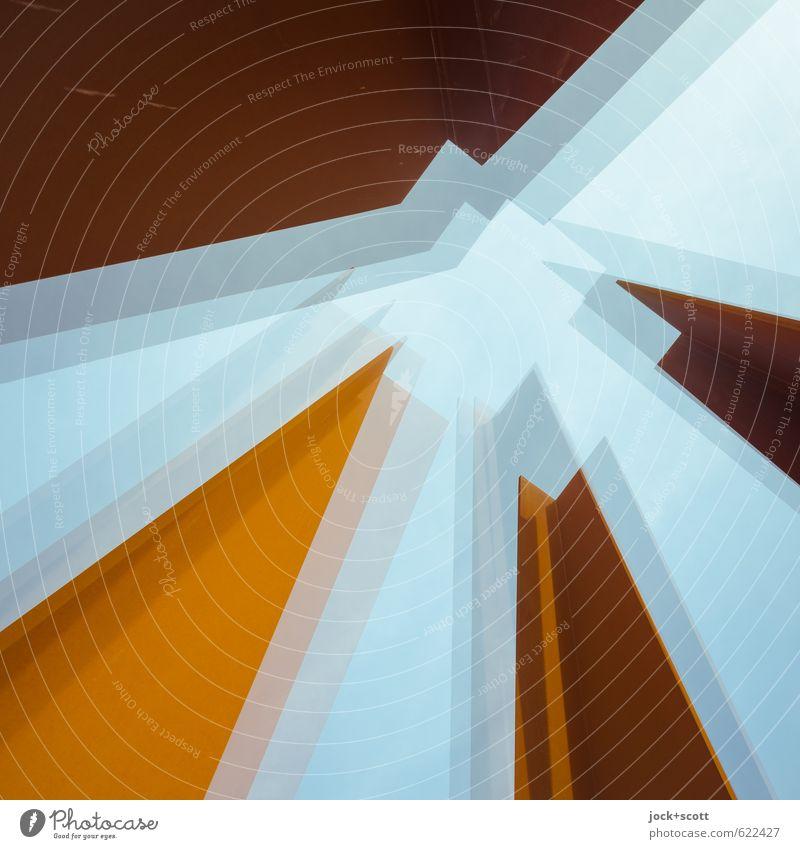 eck. drei. vier. Wärme Architektur Bewegung Berlin außergewöhnlich träumen Kraft hoch Vergänglichkeit Turm fest Wolkenloser Himmel Rost Stahl Irritation Stress