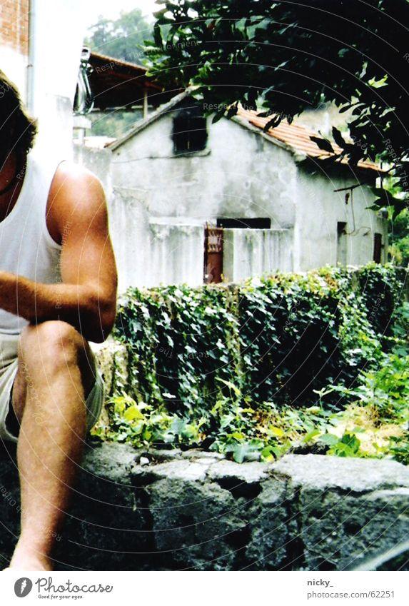i miss you Mann Haus Ferien & Urlaub & Reisen Hemd Baum grün weiß Gefühle Physik heiß Strand Efeu bewachsen Denken Arme Beine alt Einsamkeit Muskulatur