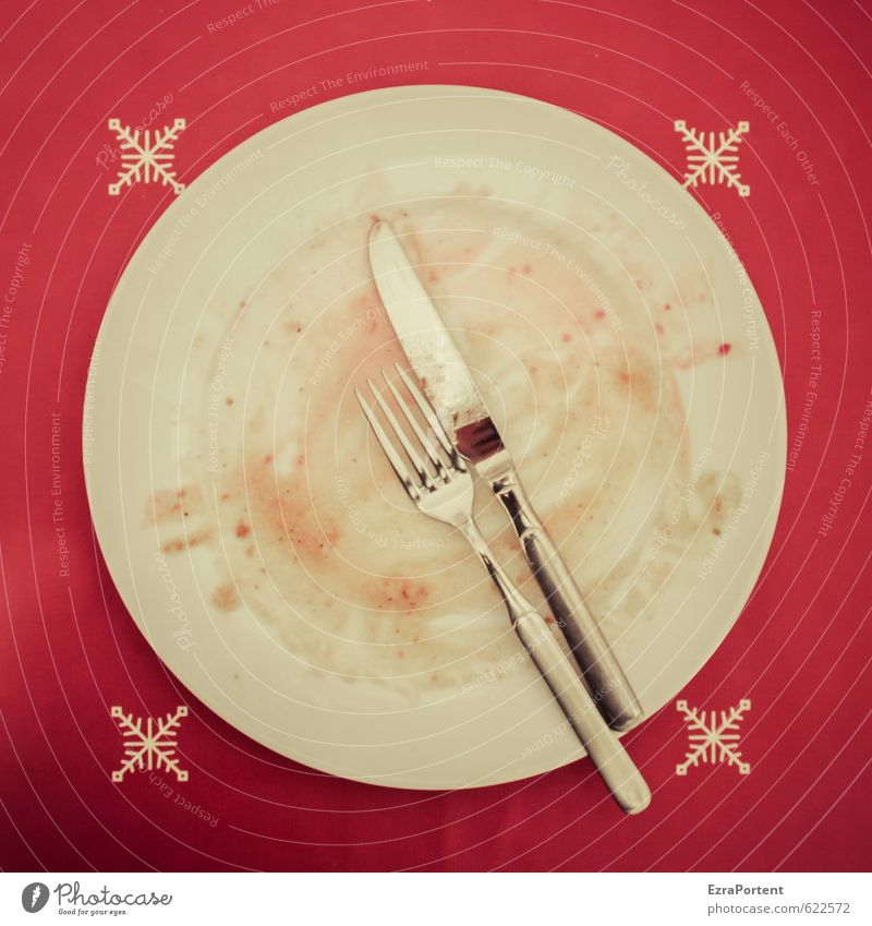nach dem Essen Weihnachten & Advent weiß rot Metall Lebensmittel dreckig glänzend Foodfotografie leer Ernährung lecker Geschirr Teller Abendessen Mahlzeit Messer