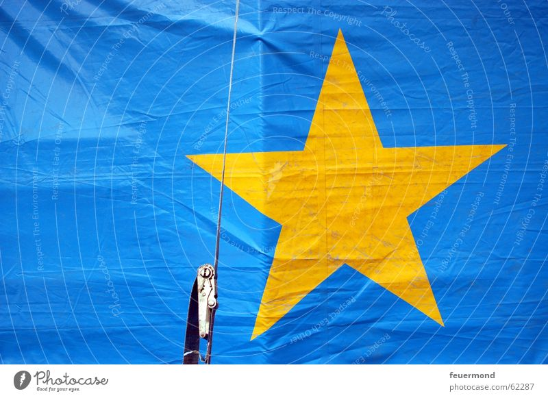 Zirkusstern blau gelb Seil Stern (Symbol) Starruhm Abdeckung Zirkuszelt