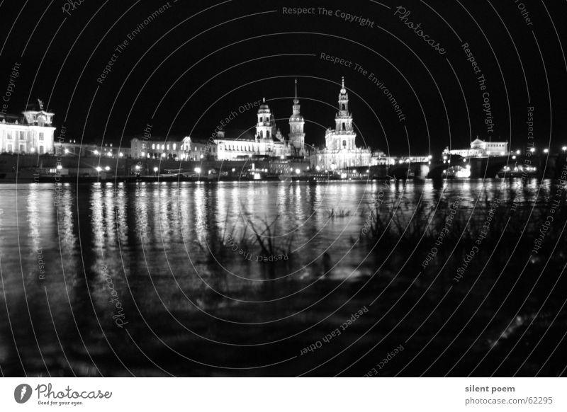dresdner nachtsilouette Nacht Dresden Licht Stadt Elbe Fluss
