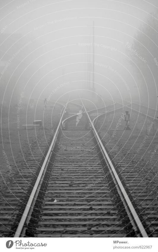 weg ins ungewisse Reisefotografie grau Nebel Verkehr Eisenbahn Güterverkehr & Logistik Spuren Rauchen Gleise entdecken Verkehrswege Bahnhof trüb Personenverkehr