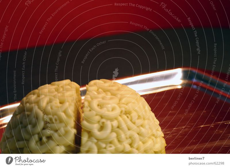 Herr, lass Hirn regnen.... Nudeln rot Lebensmittel Spiegel Gehirn u. Nerven Teigwaren Tablett Hörnchennudel