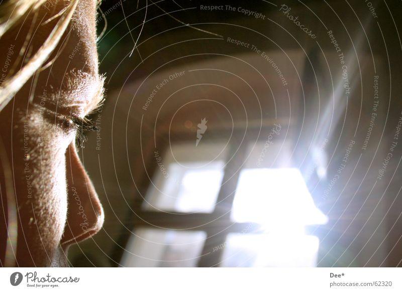 blinsel Frau Fenster Sonnenstrahlen Sommer Zukunft Mensch gegenlich Nase Gesicht Haare & Frisuren Auge in die sonne schauen blinseln Himmel offenes fenster