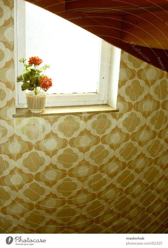 BLUME | oldschool retro 70ies 70er trash oma Blume Treppenhaus Fenster Kunstblume Siebziger Jahre Klischee Stil Blumentopf Bremen Dekoration & Verzierung Flur