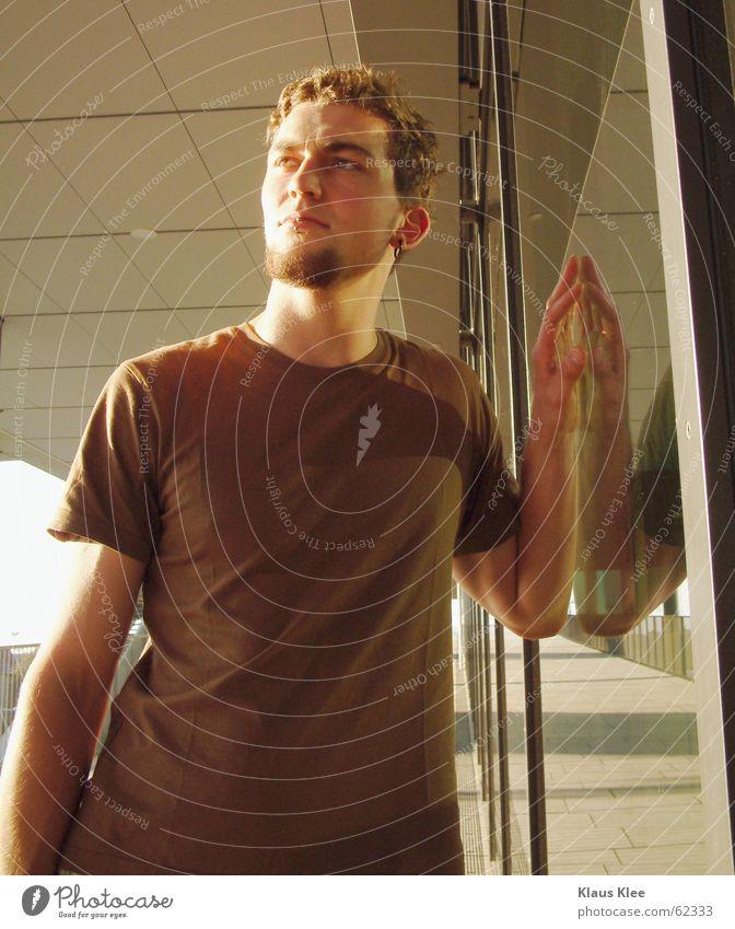 martin Mann schön Europäer Dresden Sachsen Hose Fenster Sauberkeit rein Gebäude Gitter Haus groß stark eng kurz gerade Reflexion & Spiegelung braun dunkel Eisen