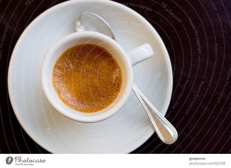 munterwerden!!! Espresso Café schwarz braun Schaum lecker Zucker süß Tasse Löffel Untertasse crema doppelter espresso cream coffee black coffee double sweet