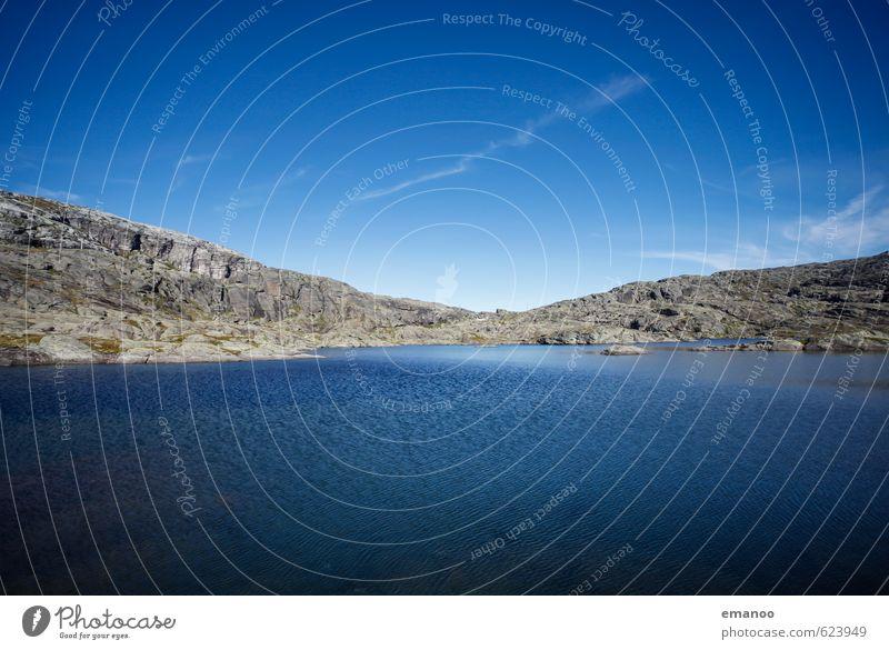 Hardanger Vidda Himmel Natur Ferien & Urlaub & Reisen blau Wasser Sommer Landschaft Ferne kalt Berge u. Gebirge grau Freiheit See Felsen Horizont Luft