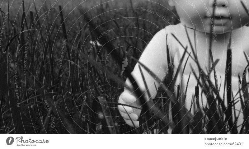 lost puppet Spielzeug verloren Einsamkeit geheimnisvoll Gras Sträucher schwarz weiß Puppe Angst Schmerz Traurigkeit